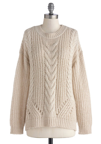 Cards on the Cable Knit Sweater - Cream, Solid, Knitted, Casual, Long Sleeve, Crew, Better, Mid-length, Knit, 90s, White, Long Sleeve