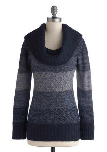 Jen's Tender Love and Wear Sweater in Blueberry - Blue, Knitted, Casual, Long Sleeve, Cowl, Stripes, Fall, Winter, Knit, Variation, Mid-length, Blue, Long Sleeve