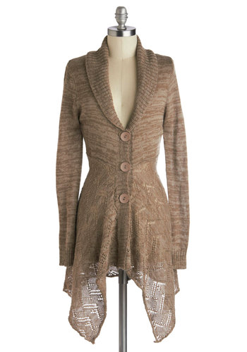 Cozy Time Cardigan - Sheer, Knit, Tan, Solid, Buttons, Casual, Long Sleeve, Handkerchief, Scholastic/Collegiate