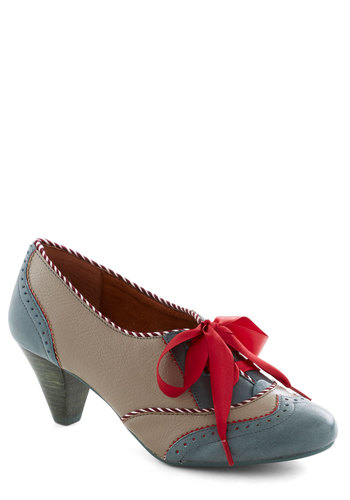 Shoeful of Sugar Heel by Poetic License - Grey, Red, Casual, Vintage Inspired, 20s, 30s, 40s, Show On Featured Sale, Show On Featured Sale, Mid, Leather, Variation, Work, Best, Folk Art