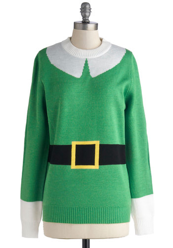 Elf Respect Sweater - Green, White, Novelty Print, Long Sleeve, Better, Mid-length, Knit, Holiday, Quirky, Crew, Green, Long Sleeve