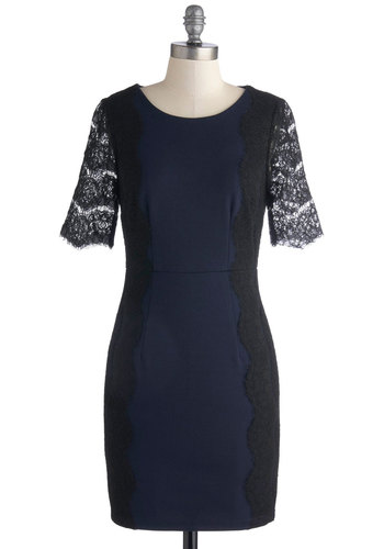Beckoning Beauty Dress by Darling - Blue, Black, Lace, Cocktail, Shift, Short Sleeves, Fall, Better, Scoop, Knit