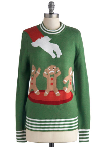 Cookie Cutting Edge Sweater - Green, Red, Brown, Novelty Print, Holiday, Long Sleeve, Better, Mid-length, Knit, White