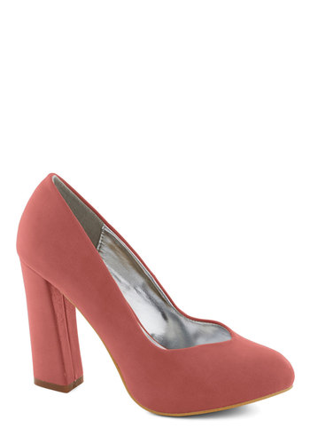 Business Brunch Heel in Rose - Solid, Work, Chunky heel, High, Good, Pink, Wedding, Party, Bridesmaid, Pastel, Minimal, Faux Leather