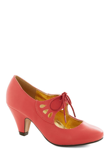 On the Bright Foot Heel in Coral - Solid, Cutout, Mid, Lace Up, Good, Coral, Party, Work, Daytime Party, Vintage Inspired, 20s, 30s, Faux Leather, Variation