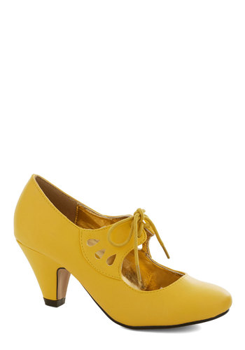 On the Bright Foot Heel in Yellow - Yellow, Solid, Cutout, Mid, Lace Up, Good, Party, Work, Daytime Party, Vintage Inspired, 20s, 30s, Faux Leather, Variation, Top Rated