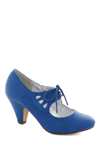 On the Bright Foot Heel in Blue - Blue, Solid, Cutout, Mid, Lace Up, Good, Party, Work, Daytime Party, Vintage Inspired, 20s, 30s, Faux Leather, Variation