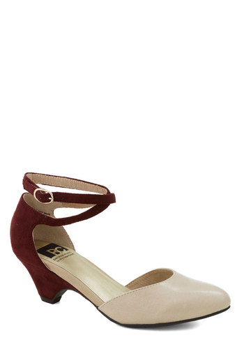 Style in the Spotlight Wedge by BC Shoes - Solid, Colorblocking, Low, Better, Red, Tan / Cream, Work, Daytime Party, Wedge