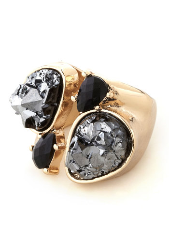 Do a Bauble Take Ring - Black, Solid, Statement, Rhinestones, Silver, Gold
