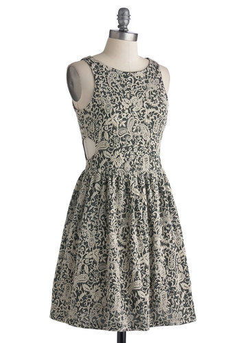 Savvy Chic Dress - Mid-length, Black, White, Paisley, Cutout, Party, A-line, Sleeveless, Better