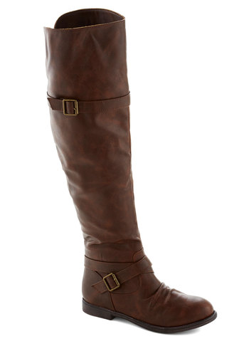 Chat over Croissants Boot - Solid, Buckles, Flat, Faux Leather, Good, Brown, Casual, Fall