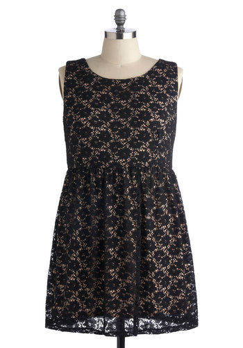 Effortlessly Enchanting Dress in Plus Size - Cotton, Woven, Black, Tan / Cream, Lace, Party, A-line, Sleeveless, Good, Scoop, Exclusives, Lace
