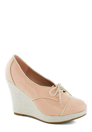 City in Pink Wedge - Pink, Tan / Cream, Trim, Pastel, High, Good, Platform, Wedge, Lace Up, Solid, Scholastic/Collegiate, Faux Leather