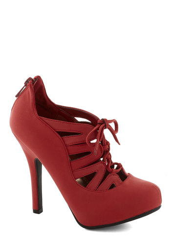 Trade Showstopper Heel - Red, Solid, Cutout, Party, Cocktail, Girls Night Out, High, Good, Platform, Lace Up, Faux Leather