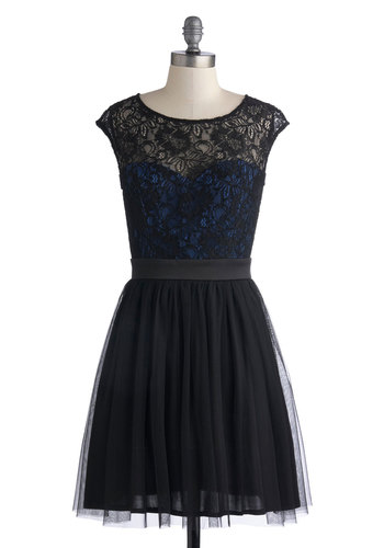 How Intriguing Dress - Mid-length, Black, Blue, Lace, Cocktail, A-line, Cap Sleeves, Good, Scoop, Pleats, Wedding, Party, Holiday Party, Ballerina / Tutu, Sheer