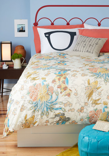 Serene Dreams Duvet Cover in Twin - Cotton, Multi, Novelty Print, Print, Dorm Decor, Woven, Best