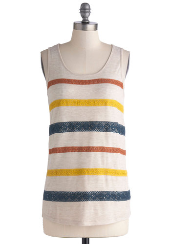 Element to Be Top - Jersey, Knit, Tan, Multi, Stripes, Lace, Tank top (2 thick straps), Better, Mid-length, Scoop, White, Sleeveless