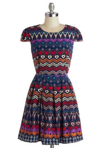 I Heart Travel Dress - Multi, Red, Blue, Purple, Print, Cutout, Casual, A-line, Cap Sleeves, Good, Crew, Woven, Urban, Folk Art, Short, Valentine's