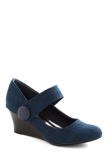 Elementary, My Dearest Wedge - Blue, Solid, Work, Mid, Good, Wedge, Mary Jane, Scholastic/Collegiate, Top Rated