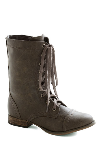 Monday's Motivator Boot in Stone - Tan, Solid, Steampunk, Good, Lace Up, Low, Casual, Rustic, Fall, Faux Leather, Variation