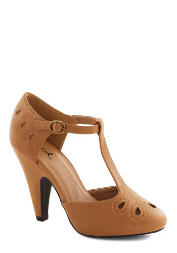 Dynamic Debut Heel in Camel - Tan, Solid, Cutout, Good, High, Daytime Party, Party, Work, Vintage Inspired, 20s, 30s, Faux Leather, Variation, T-Strap