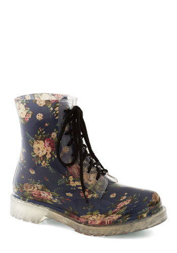 Rain, Rain Grow Away Boot - Blue, Multi, Floral, Vintage Inspired, 90s, Low, Good, Casual, Lace Up, Fall, Top Rated