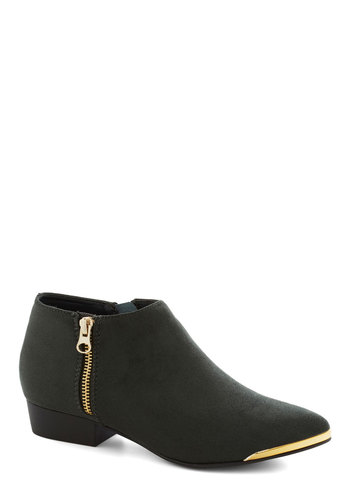 Greenpoint the Way Bootie - Green, Luxe, Low, Good, Faux Leather, Solid, Exposed zipper, Party, Urban, Fall