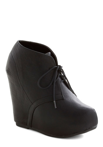 Edgy Internship Wedge - Black, Solid, High, Faux Leather, Platform, Wedge, Lace Up, Good, Girls Night Out, Urban