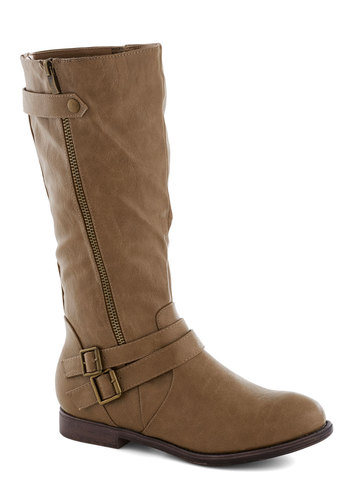 Think Outside the Sandbox Boot - Tan, Solid, Buckles, Low, Faux Leather, Good, Fall