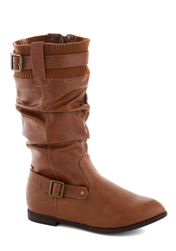 The Berkshires Boot - Solid, Buckles, Low, Faux Leather, Good, Brown, Ruching, Casual