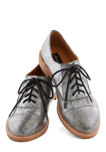 Boardwalk by Night Flat - Low, Silver, Menswear Inspired, Statement, Better, Lace Up, Solid, Faux Leather