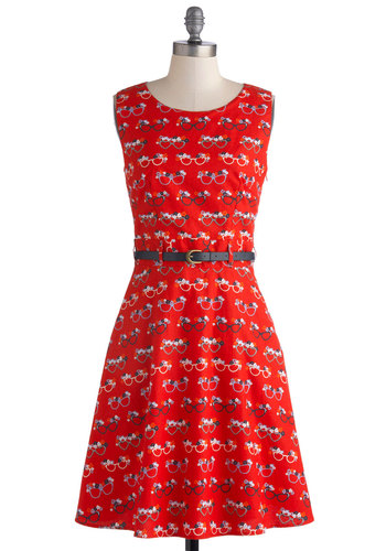 You Are What You See Dress by Yumi - Novelty Print, Cutout, Belted, Mid-length, Cotton, Woven, Red, Multi, Pockets, A-line, Sleeveless, Better, Scoop, Vintage Inspired, 50s, Casual