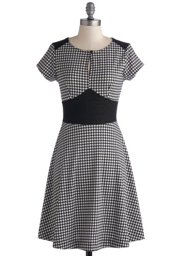 Apt Advisor Dress - Mid-length, Black, White, A-line, Short Sleeves, Good, Scoop, Houndstooth, Work, Daytime Party, Vintage Inspired