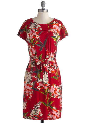 Bouquets from the Backyard Dress - Mid-length, Knit, Red, Multi, Floral, Belted, Sheath / Shift, Short Sleeves, Better, Scoop, Party, Work