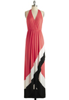 Tea in the Tropics Dress - Mid-length, Jersey, Knit, Pink, Black, White, Casual, Maxi, Halter, Summer, Better, V Neck, Exclusives