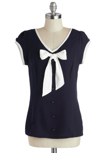 Hull for Us Top - Mid-length, Chiffon, Woven, Blue, White, Solid, Bows, Buttons, Trim, Work, Nautical, Vintage Inspired, Cap Sleeves, V Neck, Top Rated, Blue, Short Sleeve