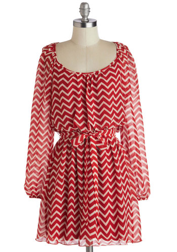Orchard Odyssey Dress - Chiffon, Woven, Short, Sheer, Red, White, Chevron, Belted, Casual, A-line, Long Sleeve, Good, Scoop