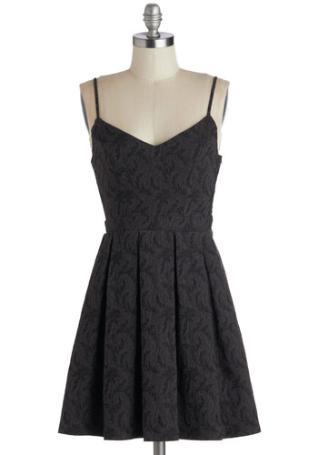 Scenic Designer Dress in Noir - Black, Cutout, Pleats, Cocktail, A-line, Spaghetti Straps, Short, Woven, Solid, Good, Party, Holiday Party