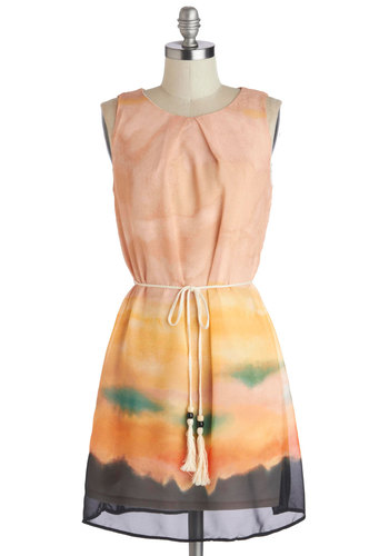 Horizon Above Dress - Tan, Orange, Yellow, Black, Ombre, Belted, Sheath / Shift, Good, Mid-length, Chiffon, Sheer, Woven, Casual, Tie Dye, Sleeveless, Scoop