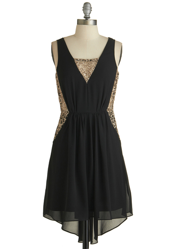 Celebration of Charm Dress - Black, Gold, Solid, Cutout, Lace, Party, Holiday Party, A-line, Tank top (2 thick straps), V Neck, Sequins, High-Low Hem, Exclusives, Good, Short, Chiffon, Woven, 20s