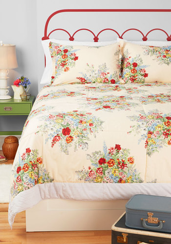 Memories Made Anew Quilt in Twin - Multi, Floral, Vintage Inspired, Tan / Cream, Dorm Decor, French / Victorian, Cotton, Woven