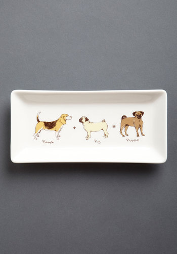 Here Comes Puggle Tray - Multi, Tan / Cream, Print with Animals, Quirky, Good, Under $20, Critters, Dog