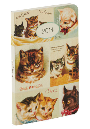 Plan's Best Friend Weekly Planner in Chat by Cavallini & Co. - Cats, Multi, Multi, Print with Animals, Good