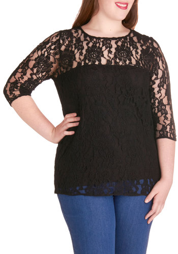 Here's to Happiness Top in Plus Size by BB Dakota - Sheer, Black, Solid, Lace, Party, Daytime Party, Film Noir, 3/4 Sleeve, Scoop, Girls Night Out