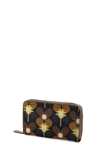 Orla Kiely Carrying Cachet Wallet by Orla Kiely - Vintage Inspired, 60s, Mod, International Designer, Woven, Multi, Blue, Brown, Floral