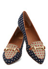 In Due Tie Flat by Dolce Vita - Blue, Multi, Polka Dots, Menswear Inspired, Flat, Better, Woven, Red, Tan / Cream, Work