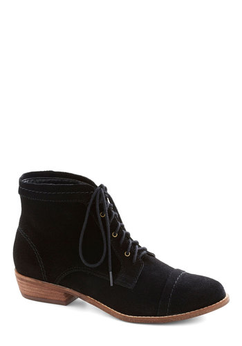 Performance Poet Bootie in Black by Dolce Vita - Black, Solid, Menswear Inspired, Low, Best, Lace Up, Leather, Casual, Suede