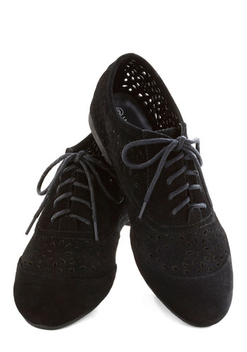 Trendy Traveler Flat - Black, Solid, Cutout, Flat, Lace Up, Faux Leather, Casual