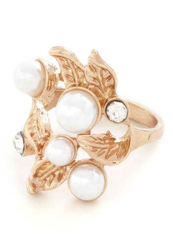 Beautiful Blossoms Ring - Solid, Pearls, Rhinestones, Luxe, White, Gold, Wedding, Party, Cocktail