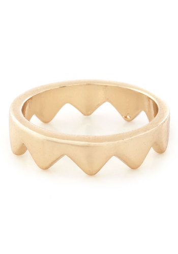 Jagged Little Knuckle Ring - Gold, Solid, Minimal, 90s